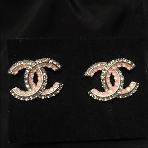 Authentic Chanel Pink & Clear Crystal CC earrings